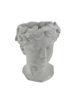 Classic Greek Grey Lady Indoor/Outdoor Cement Head Planter by Zeckos