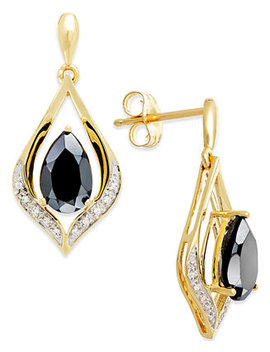 Onyx (1 1/4 Ct. T.W.) And Diamond Accent Earrings In 14k Gold by General