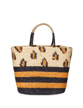 Maxi Leopard Straw Tote Bag by Sensi Studio