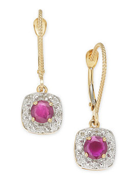 Ruby (1 Ct. T.W.) & Diamond (1/6 Ct. T.W.) Drop Earrings In 14k Gold by General