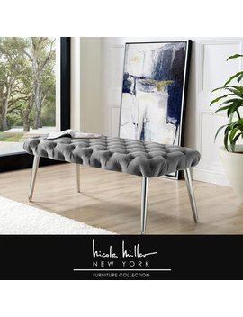 Nicole Miller Asinine Grey Velvet Bench   Diamond Button Tufted | Chrome Metal Round Tapered Legs | Luxury by Nicole Miller