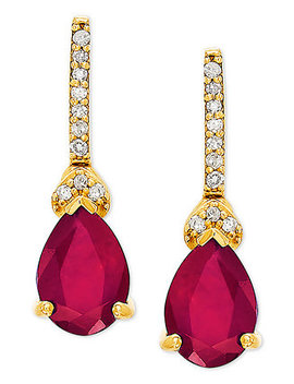 Certified Ruby (1 3/4 Ct. T.W.) & Diamond Accent Drop Earrings In 14k Gold by General