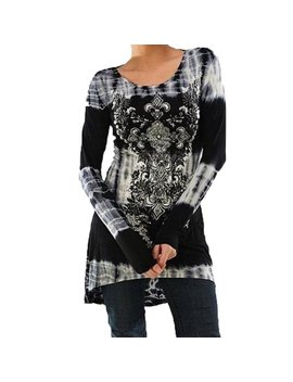 Just Vh Women's Floral Printed Long Sleeve Tunic Tops Splice Knitted Shirts Blouse by Just Vh
