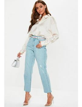 Blue Wrath Light Wash Cut Hem Distressed Straight Leg Jeans by Missguided