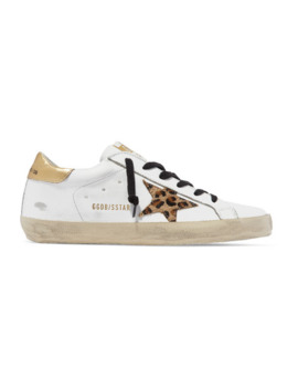 Superstar Distressed Leather And Leopard Print Calf Hair Sneakers by Golden Goose
