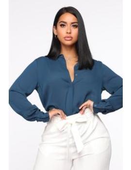Call In Slick Shirt   Teal by Fashion Nova