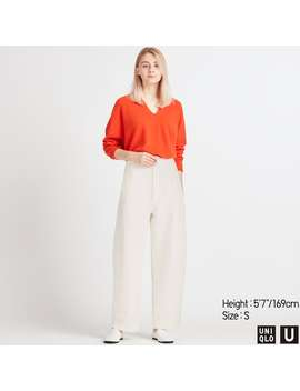 U Wide Fit Curved Jersey Pants by Uniqlo