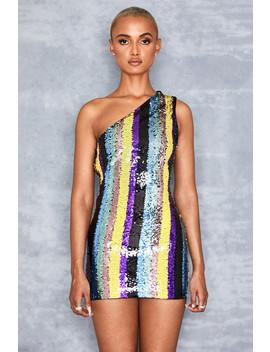 Multi Colour One Shoulder Sequin Dress   Sale by Mistress Rocks