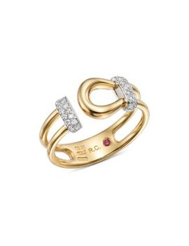 18 K White & Yellow Gold Classic Parisienne Diamond Ring   100% Exclusive by Roberto Coin