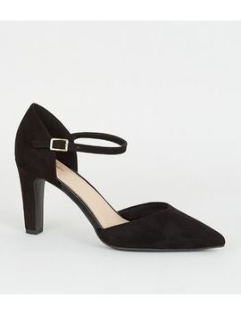 Black Suedette 2 Part Court Shoes by New Look