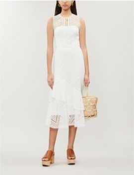 Sleeveless Sheer Floral Lace Midi Dress by Karen Millen