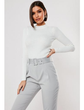 Ivory High Neck Ribbed Knitted Top by Missguided