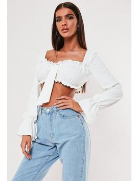 White Puff Sleeve Bow Front Crop Top by Missguided