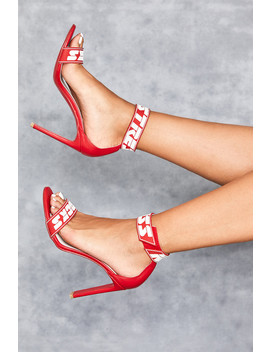 Red Logo Ankle Strap Sandals by Mistress Rocks