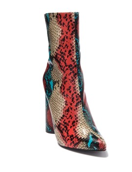 Boas Snake Print Block Heel Boot by Cape Robbin