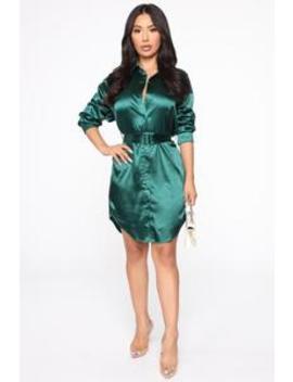 Boss Vibes Shirt Dress   Hunter by Fashion Nova