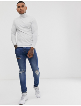 Asos Design Recycled Long Sleeve T Shirt Will Roll Neck In Light Gray Marl by Asos Design