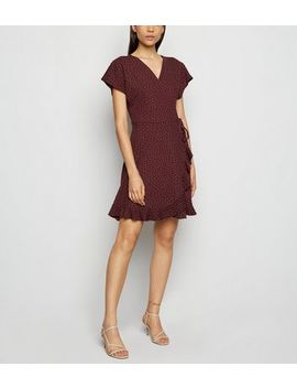 Red Ruffle Trim Spot Mini Dress by New Look