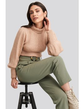 Puff Sleeve Wide Neck Knitted Sweater Pink by Na Kd