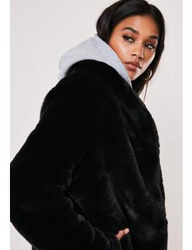 Black Shawl Collar Faux Fur Coat by Missguided