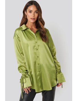 Tie Sleeve Satin Shirt Green by Na Kd