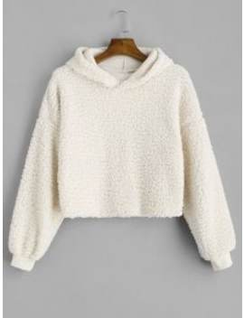 Drop Shoulder Fluffy Boxy Hoodie   Warm White L by Zaful