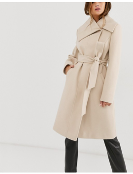 Asos Design Asymmetric Collar Skater Coat In Cream by Asos Design