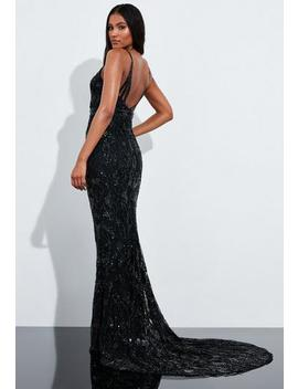 Peace + Love Black Sequin Embellished Fishtail Maxi Dress by Missguided