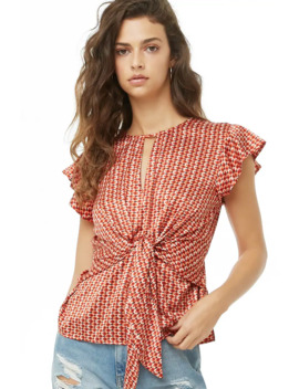 Tie Front Geo Print Top by Forever 21