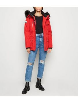 Red Faux Fur Parka Coat by New Look