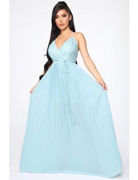 Ancient Love Story Pleated Maxi Dress   Blue by Fashion Nova