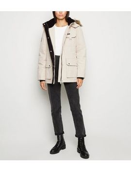 Stone Faux Fur Parka Coat by New Look