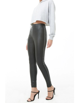 Glitter Striped Trim Faux Leather Pants by Forever 21