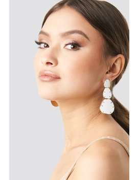 Three Plate Drop Earrings White by Na Kd Accessories