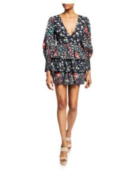 Paris Floral Tiered Short Cotton Dress by Love Shack Fancy