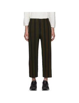 Brown & Black Stripe Rod Trousers by Homme PlissÉ Issey Miyake
