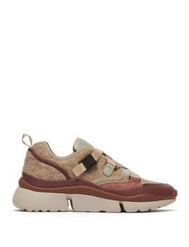 Sonnie Raised Sole Felt And Leather Trainers by Chloé
