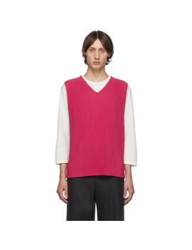 Pink Pleated V Neck Tank Top by Homme PlissÉ Issey Miyake