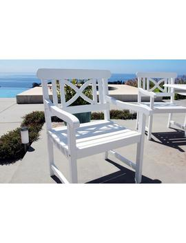 Bradley Acacia Patterned Back White Patio Armchair by Vifah