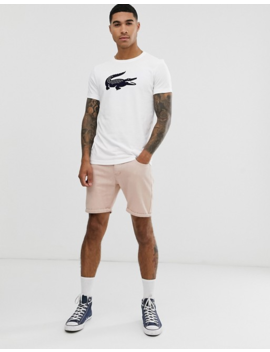 Lacoste Big Croc Chest Logo T Shirt In White by Lacoste