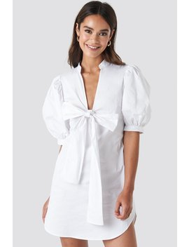 Puff Sleeve Tied Front Short Dress White by Na Kd Trend