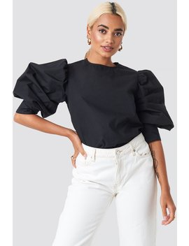Large Cuff Puff Cotton Blouse Black by Na Kd Trend