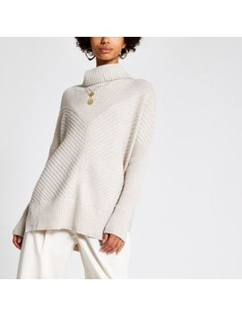 Light Beige Knitted Rib Roll Neck Jumper by River Island