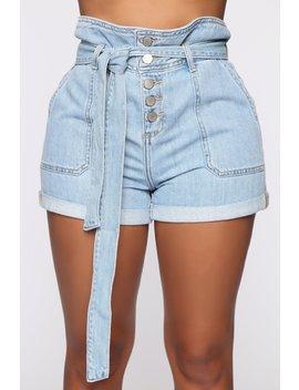 Tie Me Down Denim Shorts   Light Blue Wash by Fashion Nova