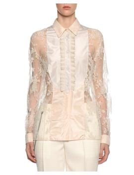 Bib Neck Floral Lace Silk Blouse by Bottega Veneta