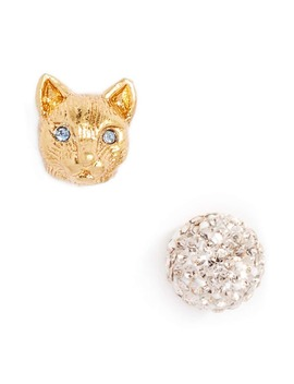House Cat Mismatched Pavé Stud Earrings by Kate Spade New York