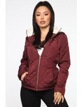 Quit Tripping Quilted Jacket   Wine by Fashion Nova
