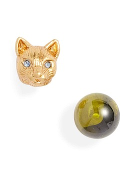 House Cat Mismatched Stud Earrings by Kate Spade New York