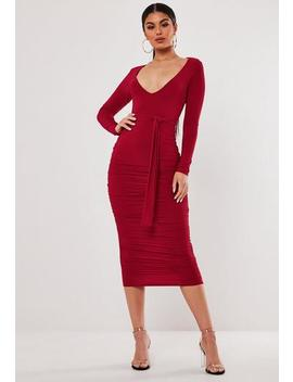 Stassie X Missguided Red Slinky Belted Plunge Midi Dress by Missguided