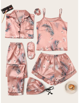 7pcs-crane-&-tropical-print-satin-pajama-set by sheinside